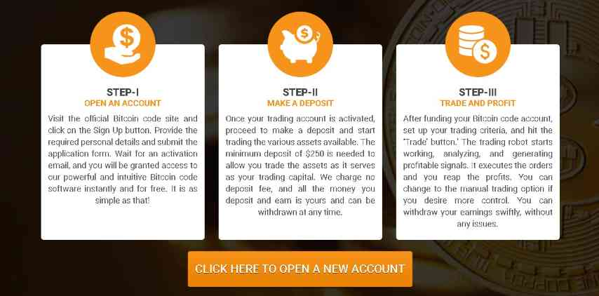 bitcoin code open account