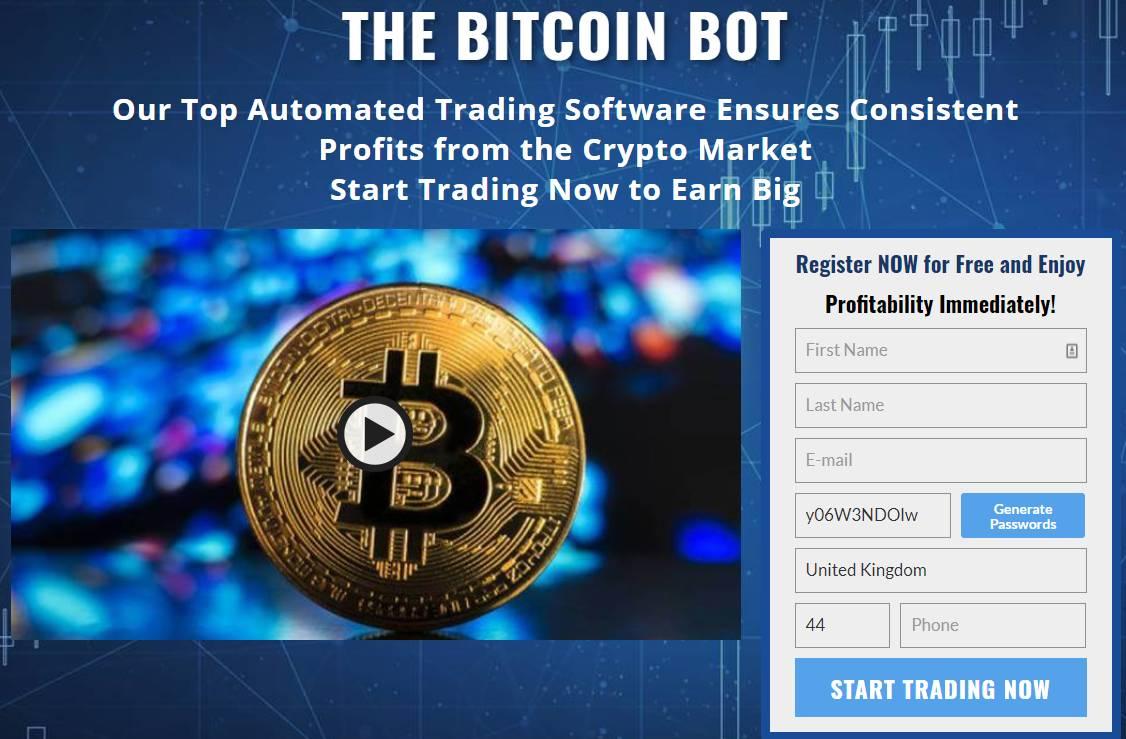 pagina di registrazione del bot bitcoin
