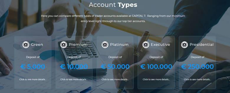 Capital Seven - Account Types