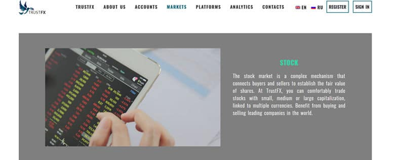 Plateformes de trading TrustFX